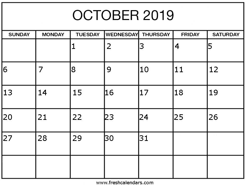 Printable October 2019 Calendar Printable October 2019 Calendar Fresh Calendars