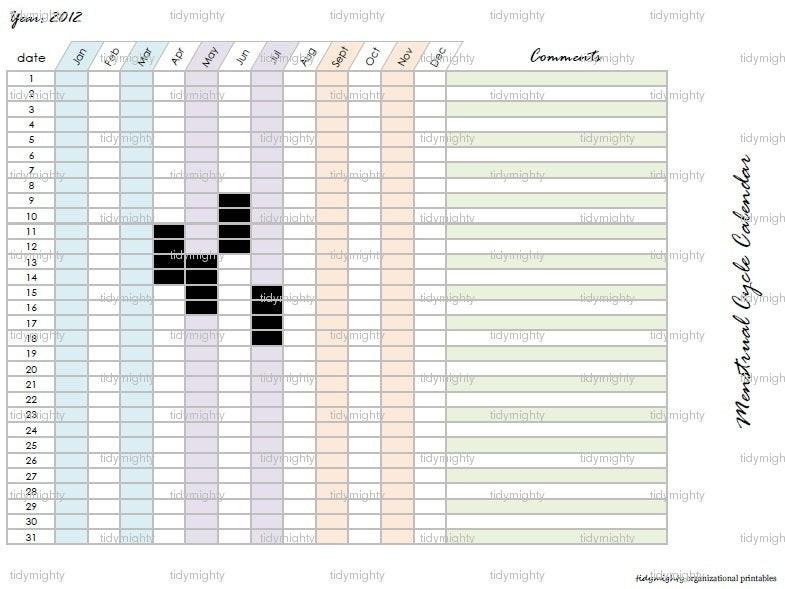 Printable Period Calendar Menstrual Cycle Calendar Tracker Printable Pdf by Tidymighty