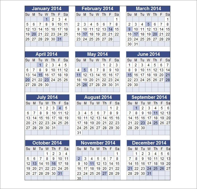 Perpetual Calendar Calendar Template