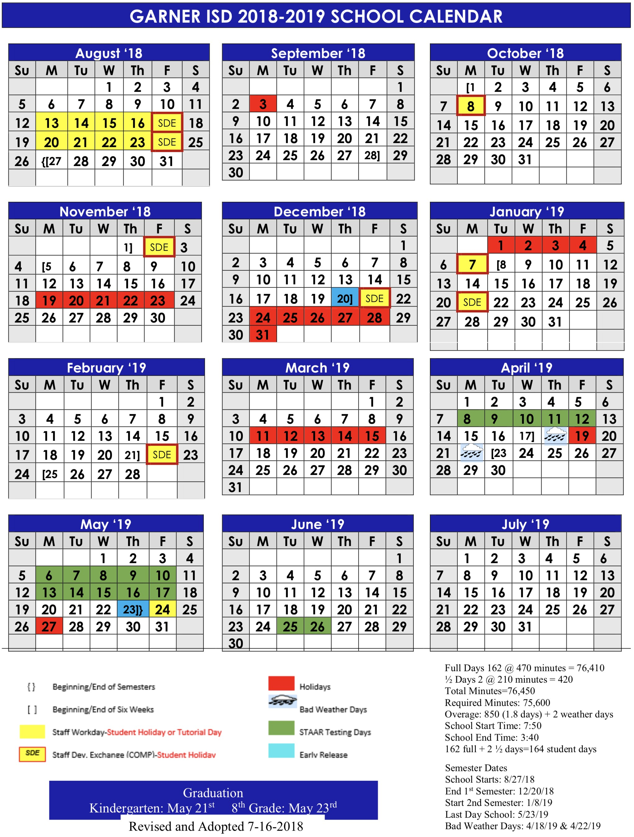 Printable 2020-2016 Calendar Printable School Calendar 2020 2020 Calendar Garner isd | Get Free