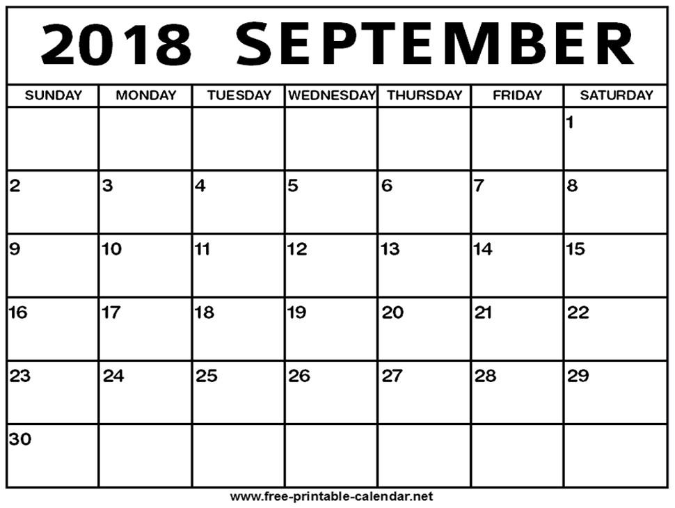 September 2018 Calendar Print Calendar from Free