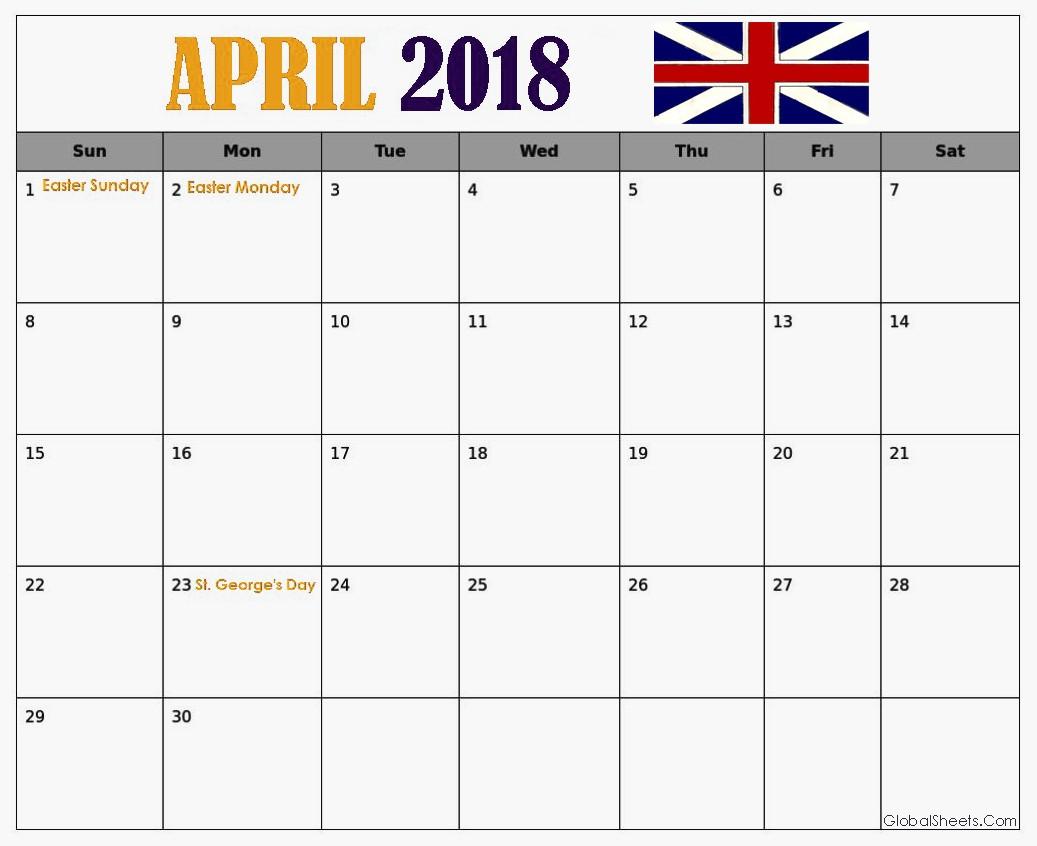 April 2018 UK Calendar With Holidays