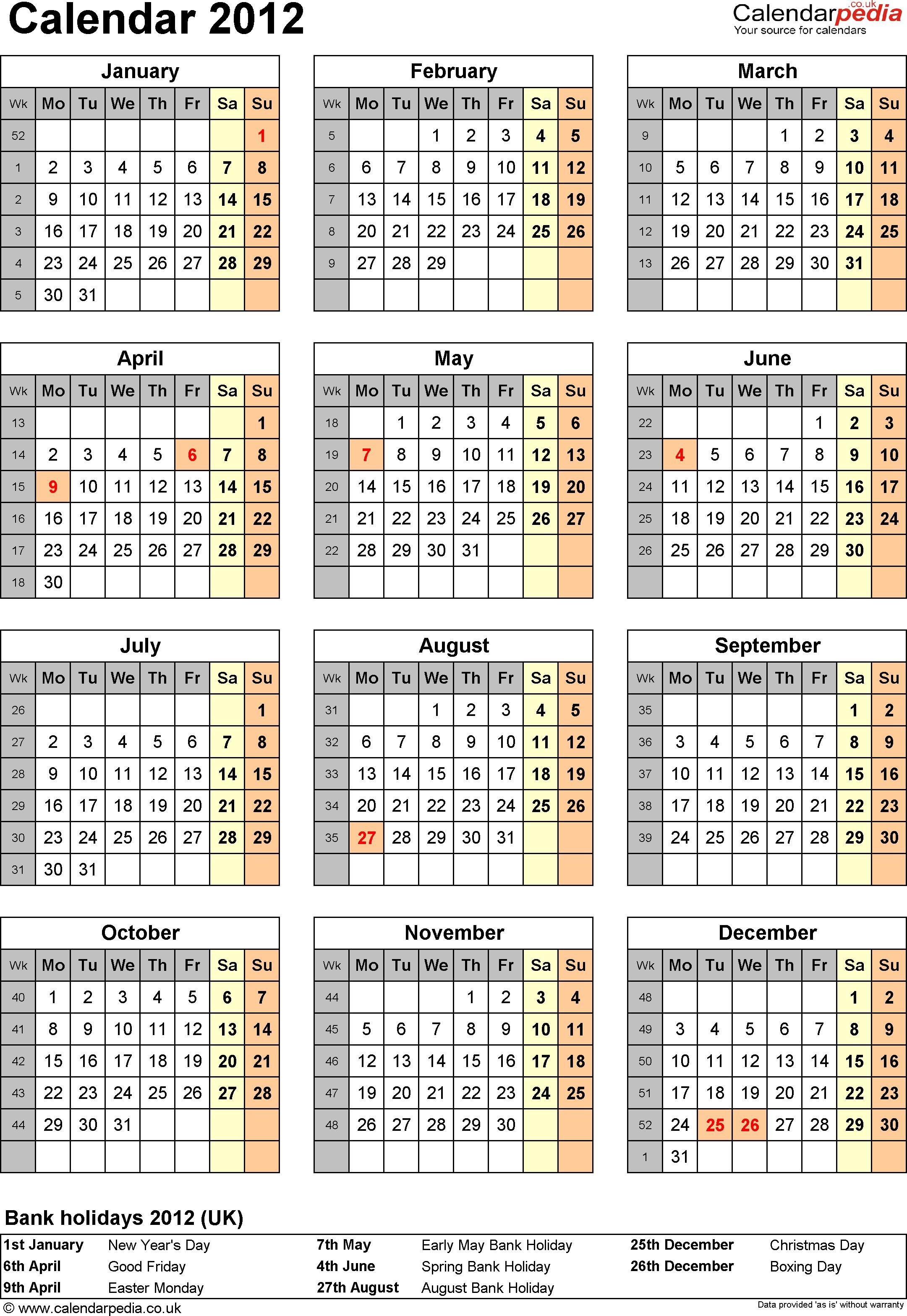 Printable Uk Calendar Calendar 2012 Uk with Bank Holidays and Week Numbers