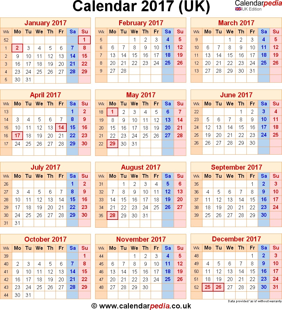 Printable Uk Calendar Calendar 2017 Uk with Bank Holidays & Excel Pdf Word Templates