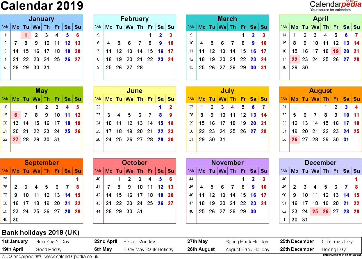 Calendar 2019 UK 16 free printable Word templates