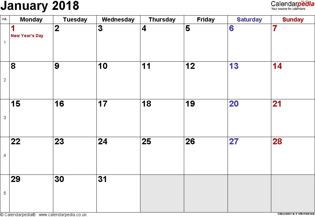 Calendar January 2018 UK Bank Holidays Excel PDF Word