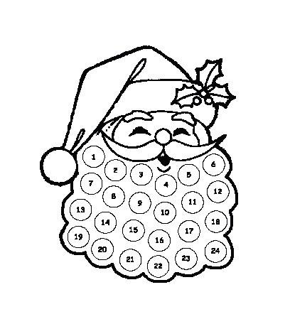 Santa Beard Advent Calendar Printable 7 Best Of Printable Santa Beard with Cotton Balls