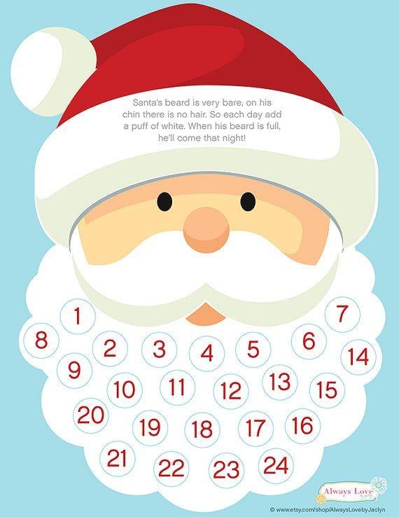 INSTANT DOWNLOAD Santa Beard Advent Calendar Digital
