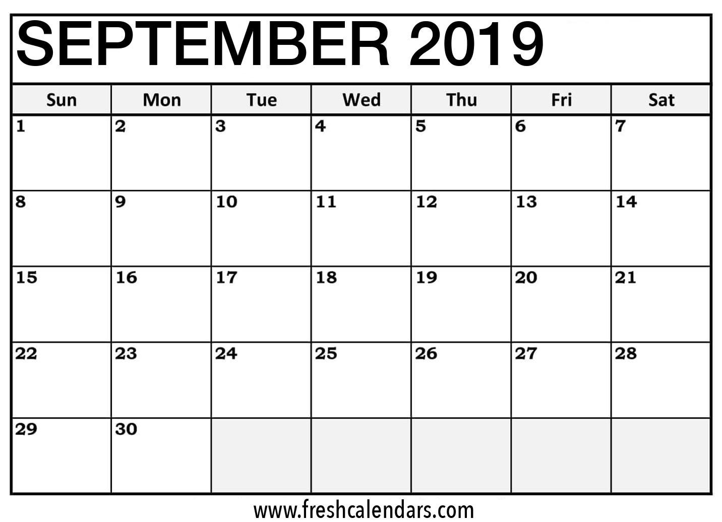 September 2019 Printable Calendar with Holidays