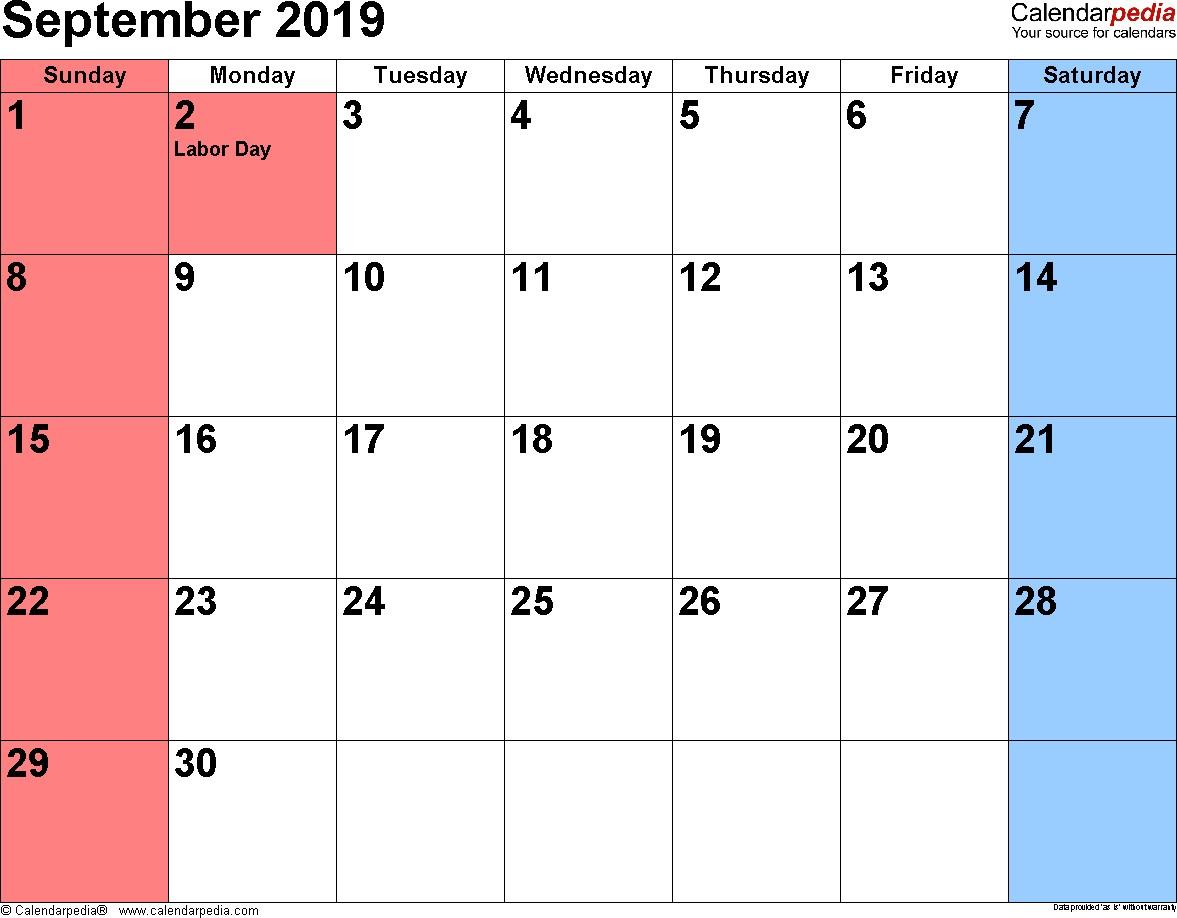 September 2019 Calendars for Word Excel & PDF