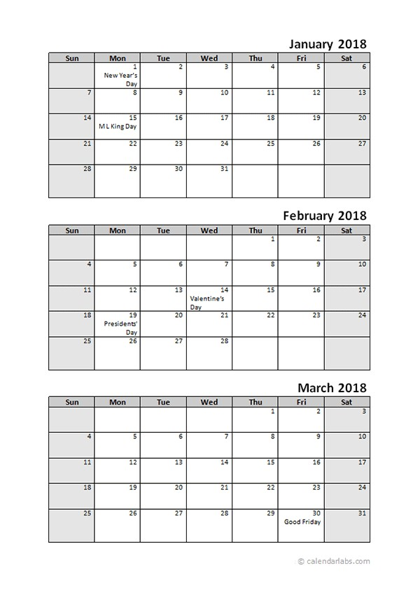 Printable 2018 Quarterly Calendar 3 Months Templates