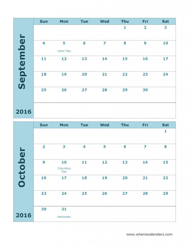 Two Month Printable Calendar 2 Month Calendar Template Printable 2016