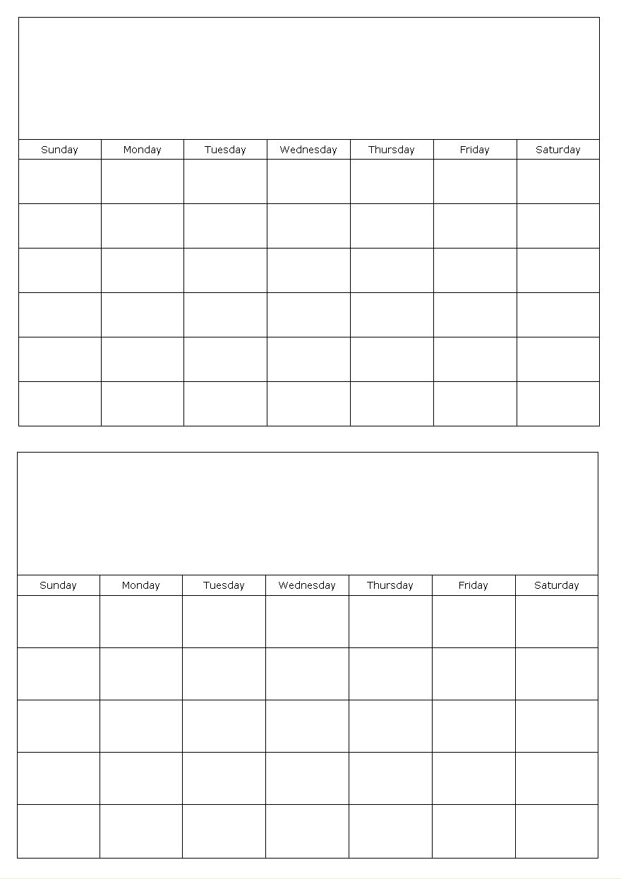 Two Month Printable Calendar Two Months On A Page Blank Calendar Template