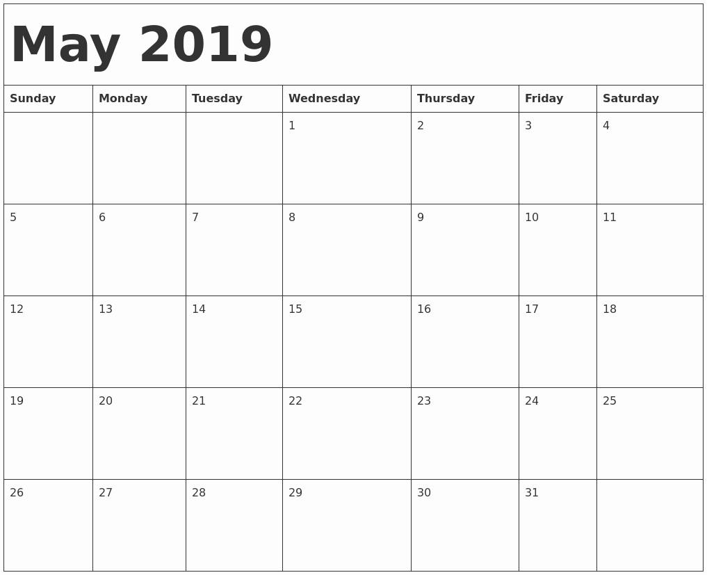 Printable Calendar 2019 Vertex42