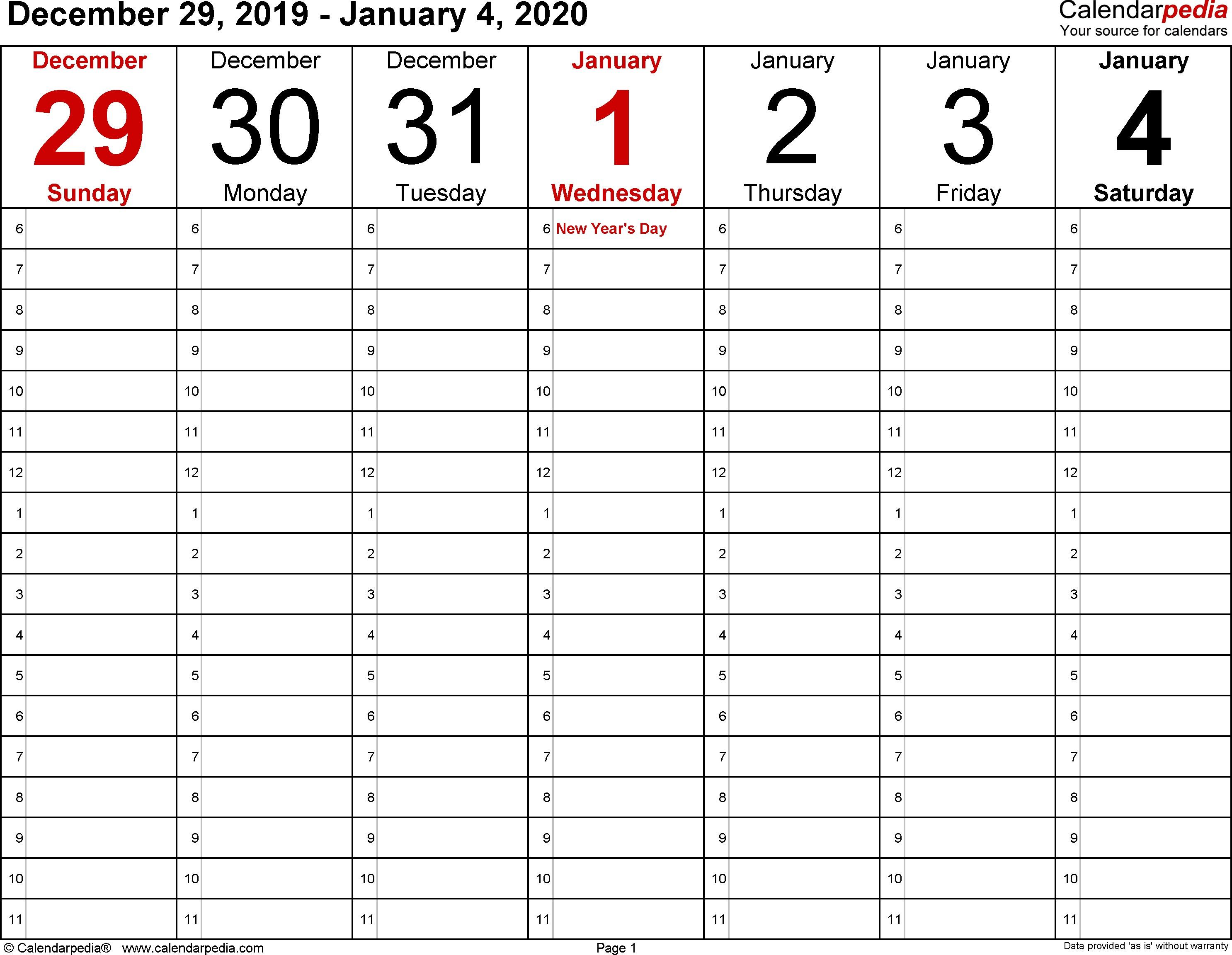 Weekly Calendar Printable 2020