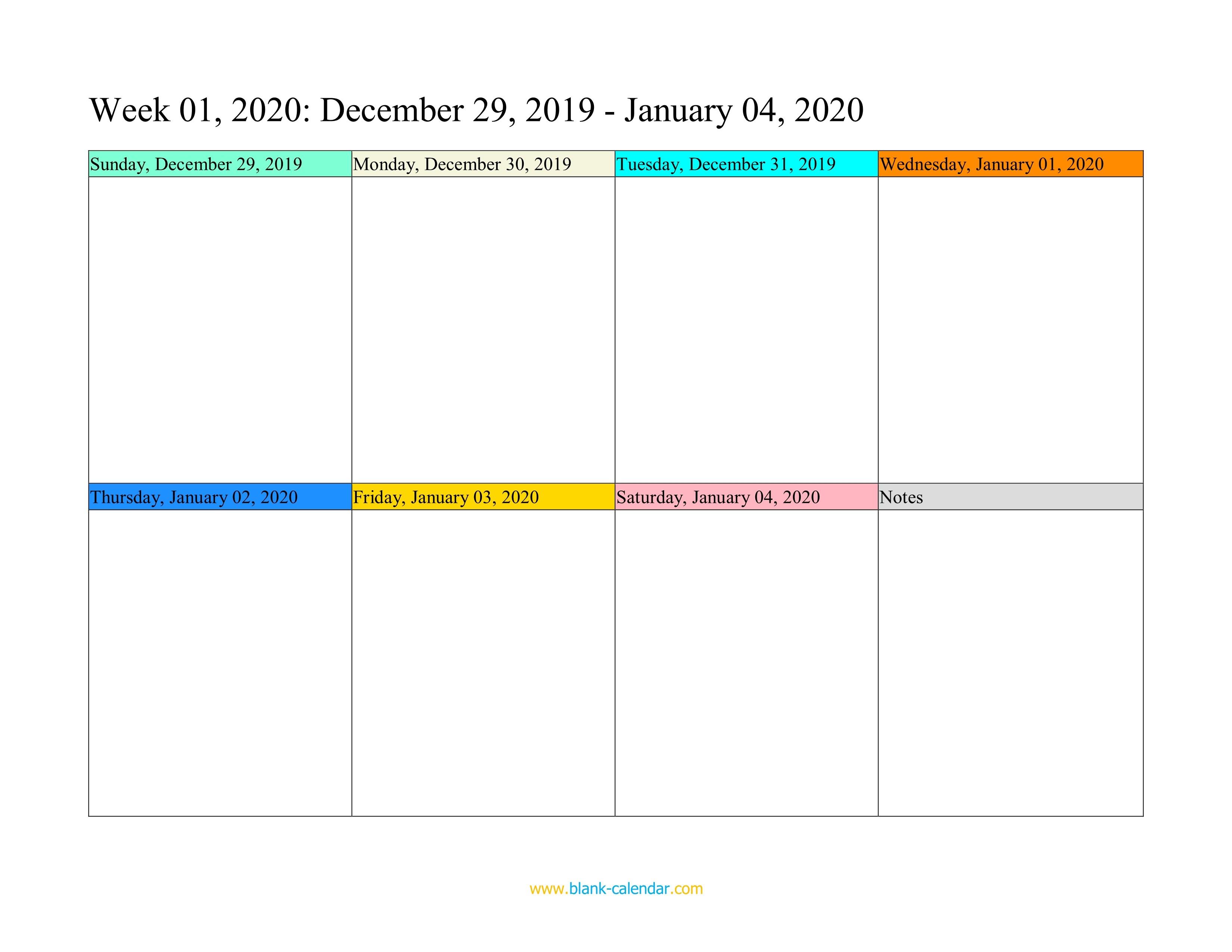 Weekly Calendar Printable 2020 Weekly Calendar 2020 Word Excel Pdf