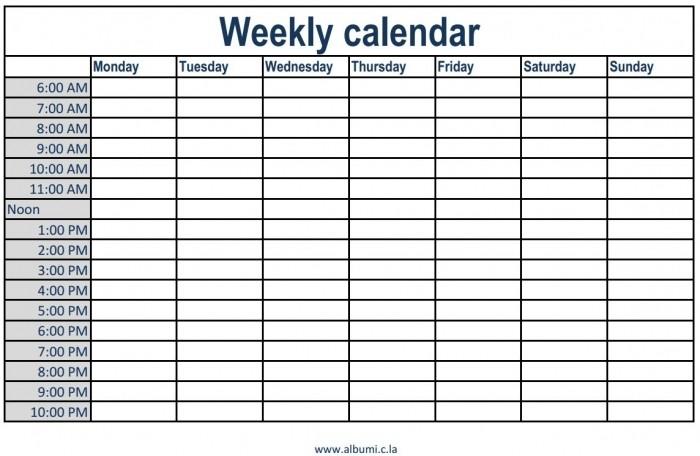 Weekly Calendar with Times Slots Printable