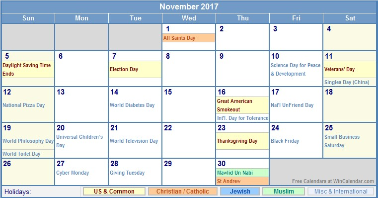 Wincalendar Printable Calendar November 2017 Us Calendar with Holidays for Printing