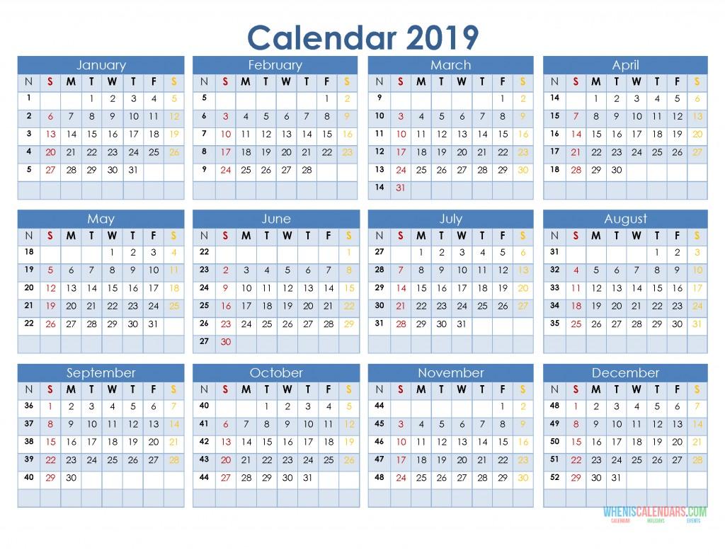 12 Printable Calendar 2019 2019 12 Month Calendar Template In A E Page Printable