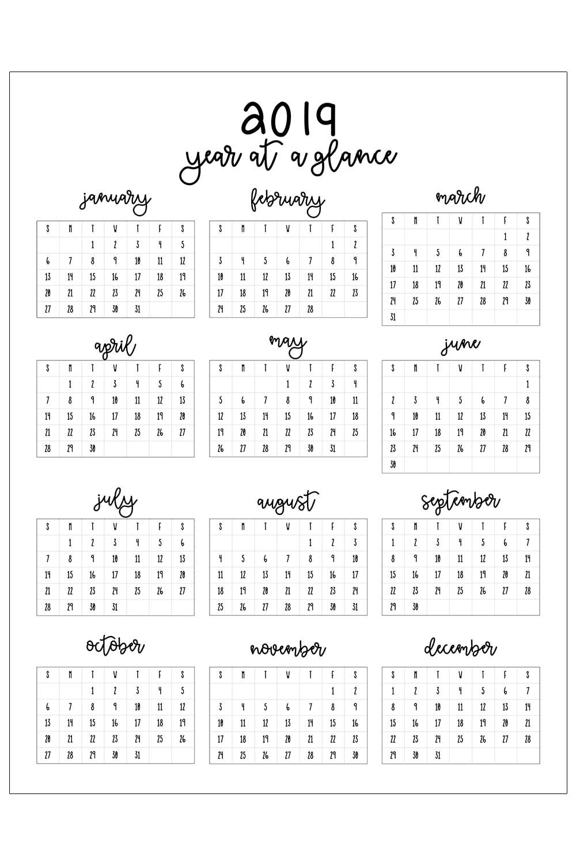 12 Printable Calendar 2019 2019 Printable Calendar
