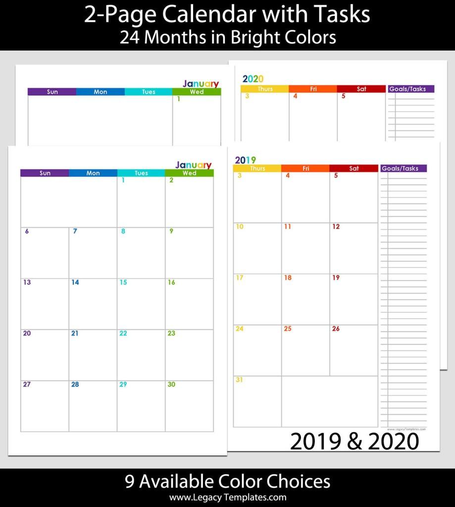 2 Page Printable Calendar 2019 & 2020 24 Months 2 Page Calendar – A5