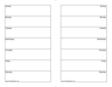 Printable Two week Calendar half page