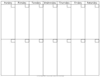 2 Week Printable Calendar Two Week Calendar by Amanda Rose Resources