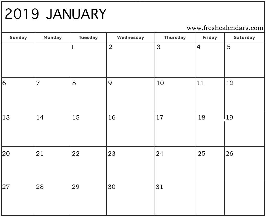 2019 Calendar Printable January January 2019 Calendar Printable Fresh Calendars