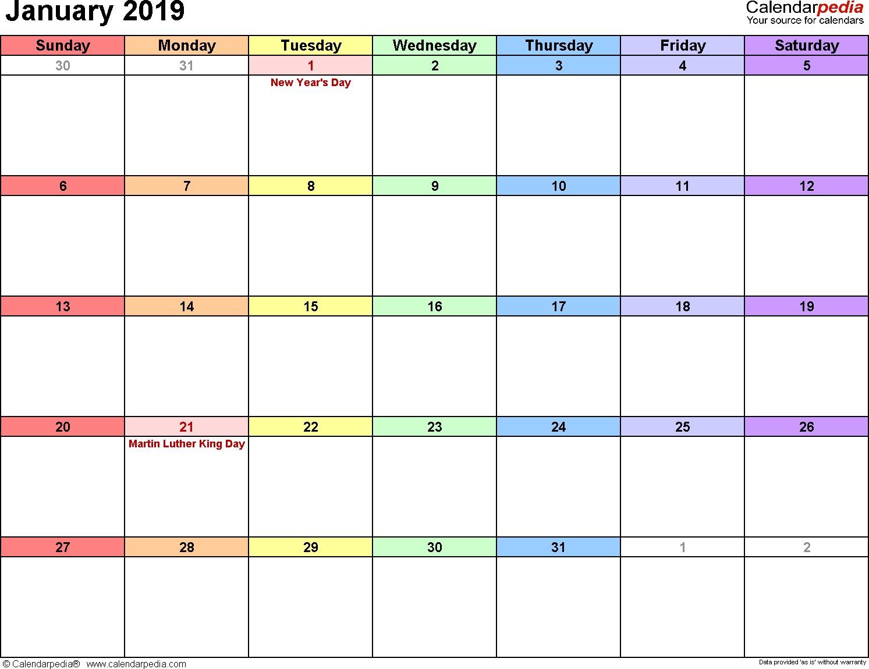 2019 Calendar Printable January January 2019 Calendars for Word Excel & Pdf