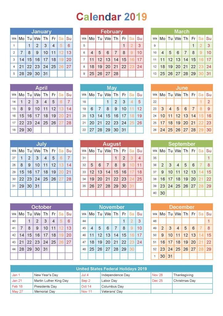 2019 Calendar Printable One Page E Page 2019 Printable Calendar Free Download