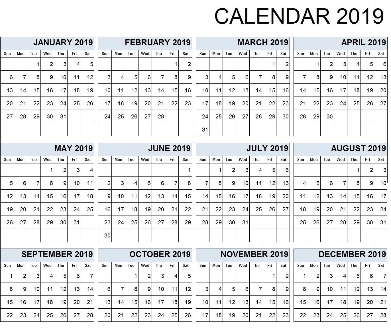 Calendar 2019 Print Out