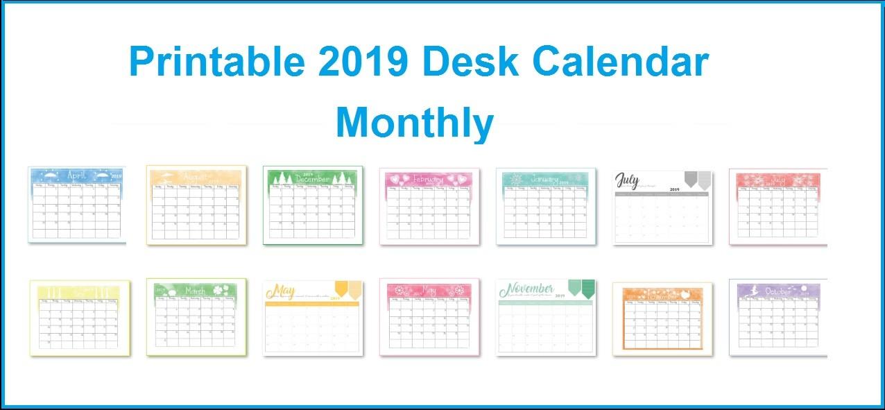 Printable 2019 Desk Calendar