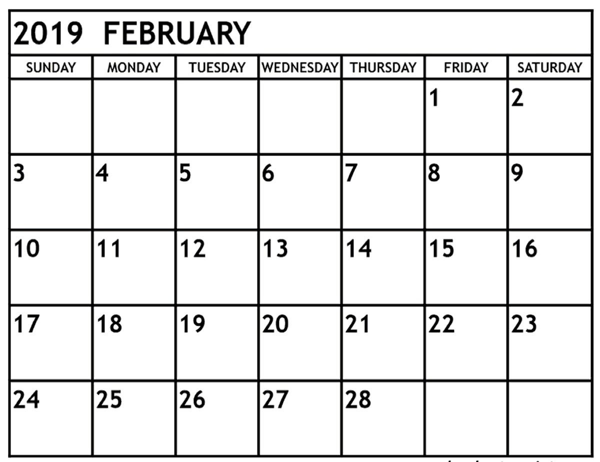 February 2019 calendar Editable Printable Template With