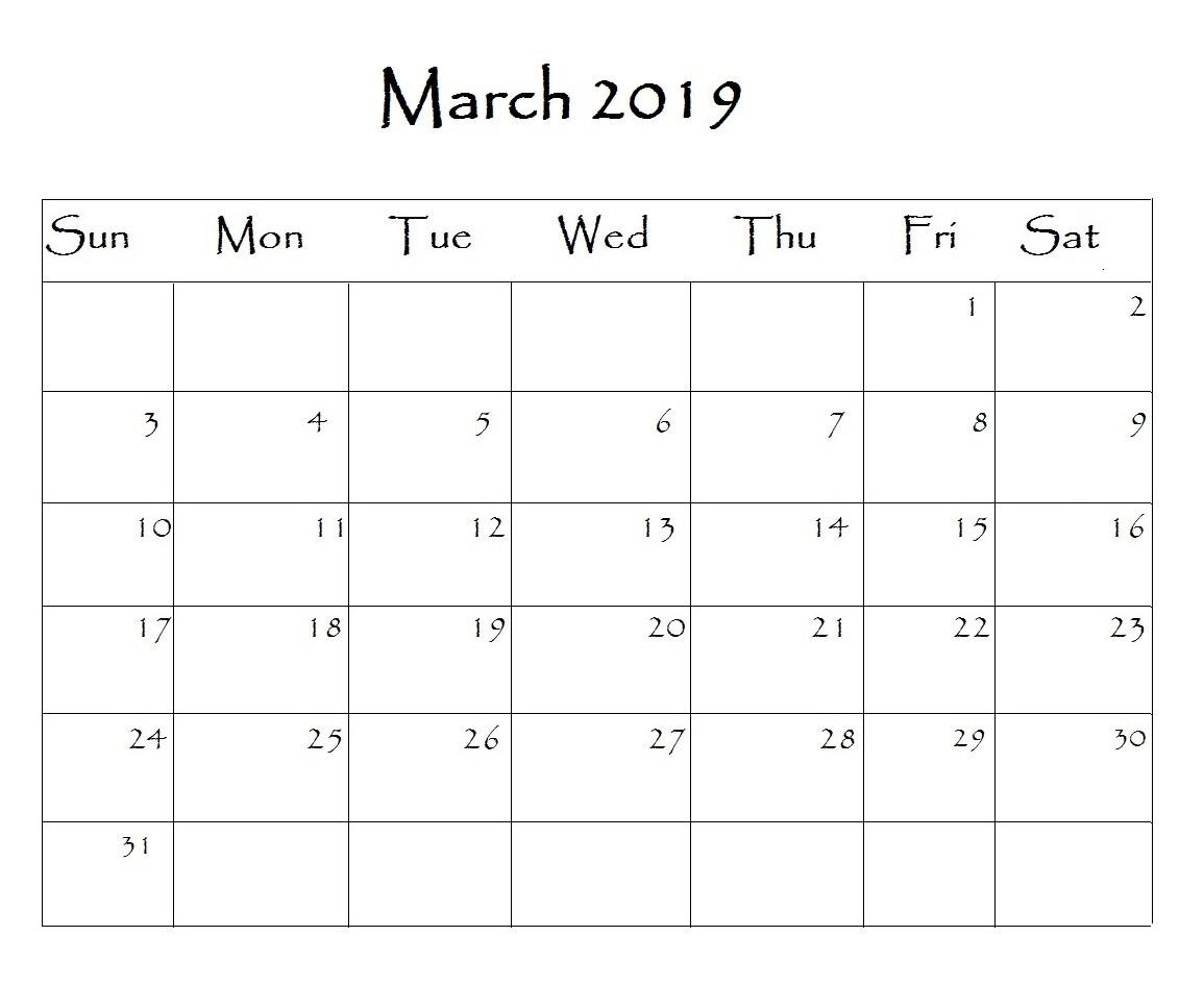 March 2019 Calendar Archives Printable Calendar 2019