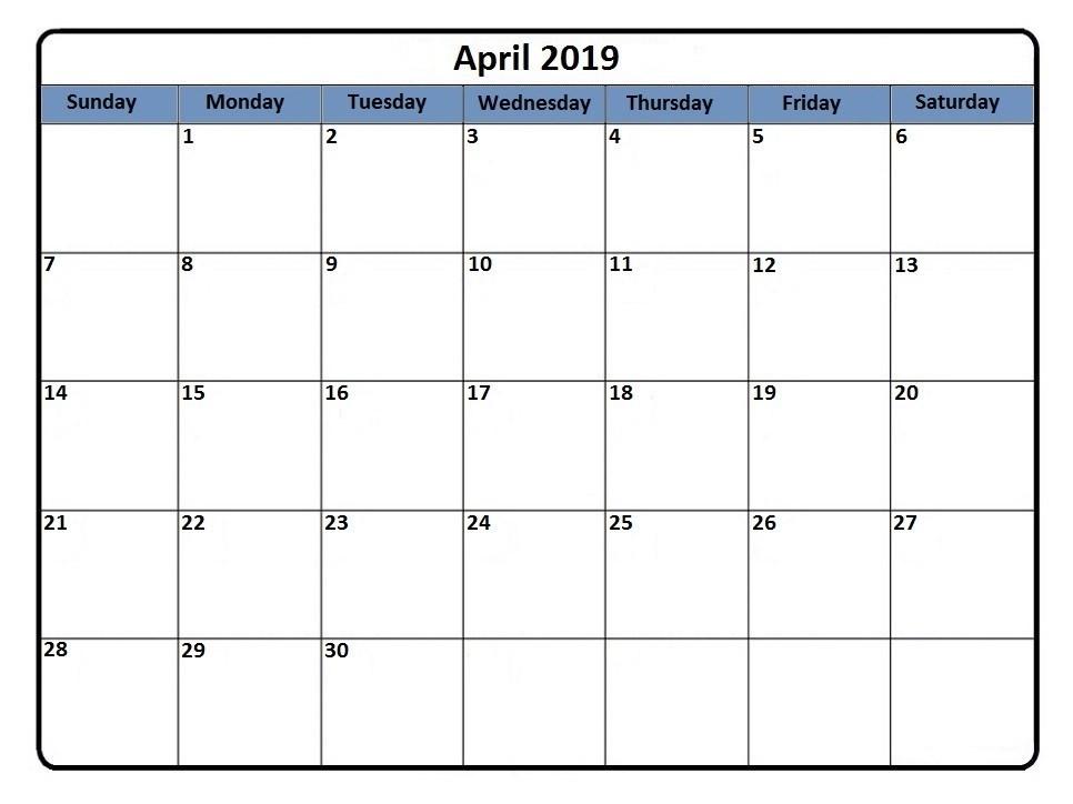 Top Editable April 2019 Calendar Blank Template Excel PDF Word