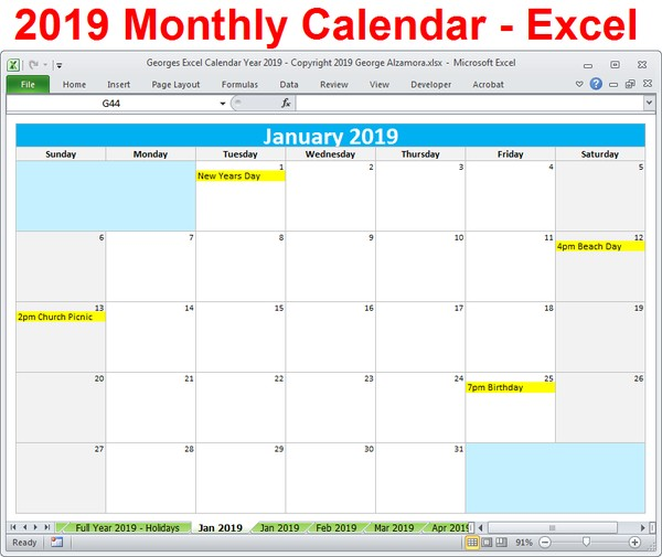 2019 Excel Monthly Calendar 2019 Calendar Printable Yearly Monthly Editable Excel