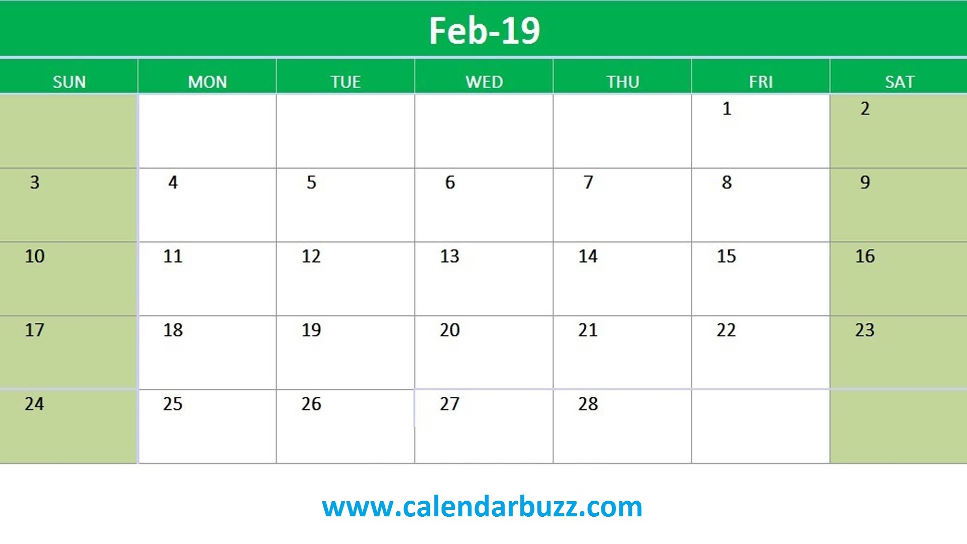 Free 2019 Excel Printable Calendar Monthly Templates