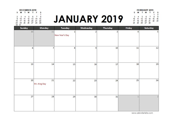 Monthly 2019 Excel Calendar Planner Free Printable Templates