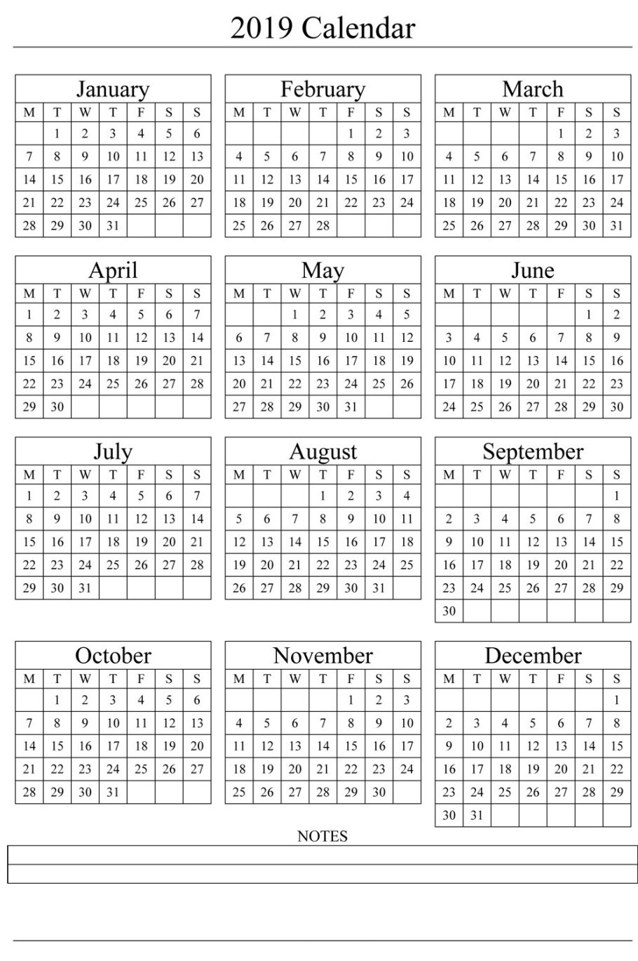2019 Free Printable Yearly Calendar