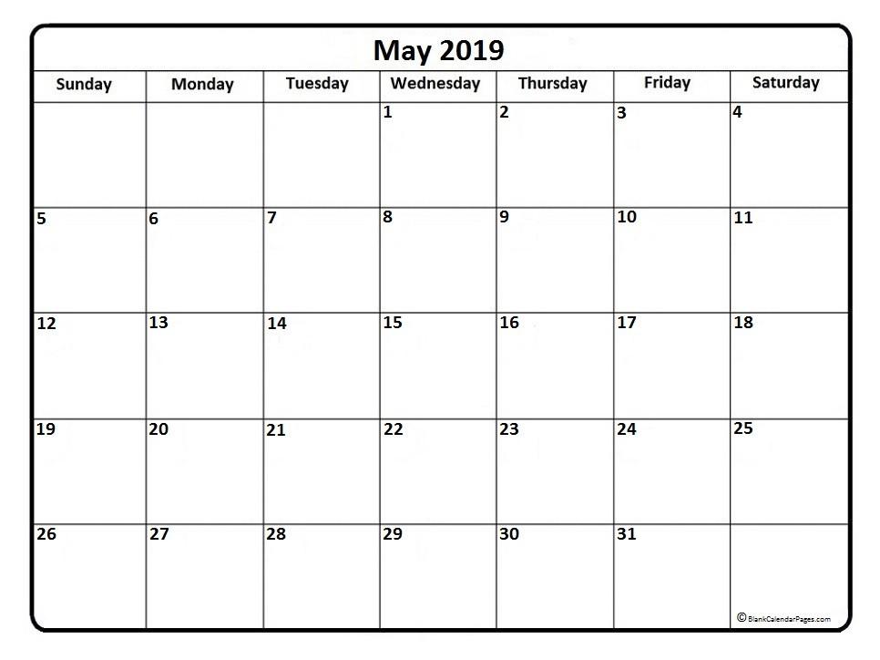 2019 May Calendar Printable May 2019 Calendar