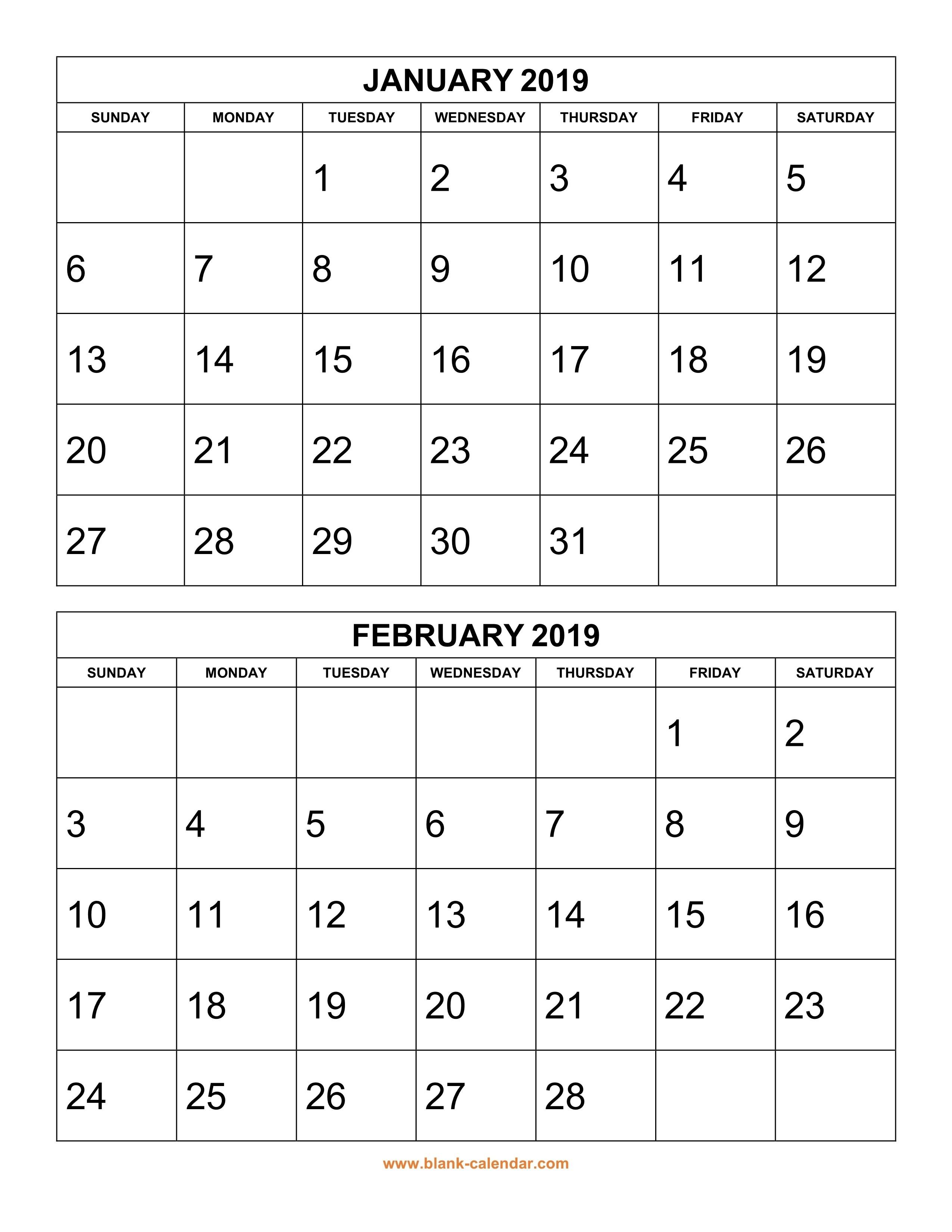 2019 Printable Calendars Free Calendar Template 2019