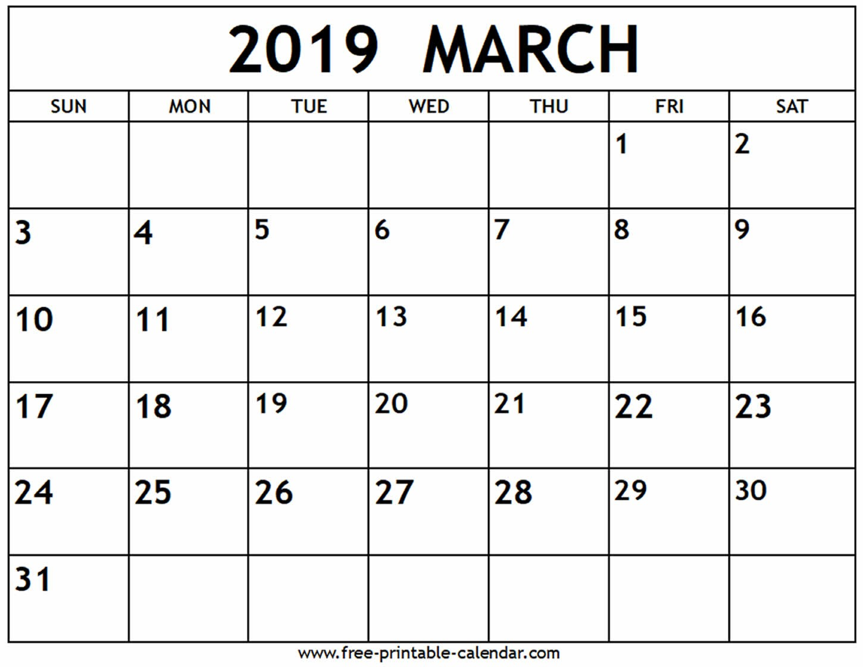 2019 Printable Calendars Free March 2019 Calendar Free Printable Calendar