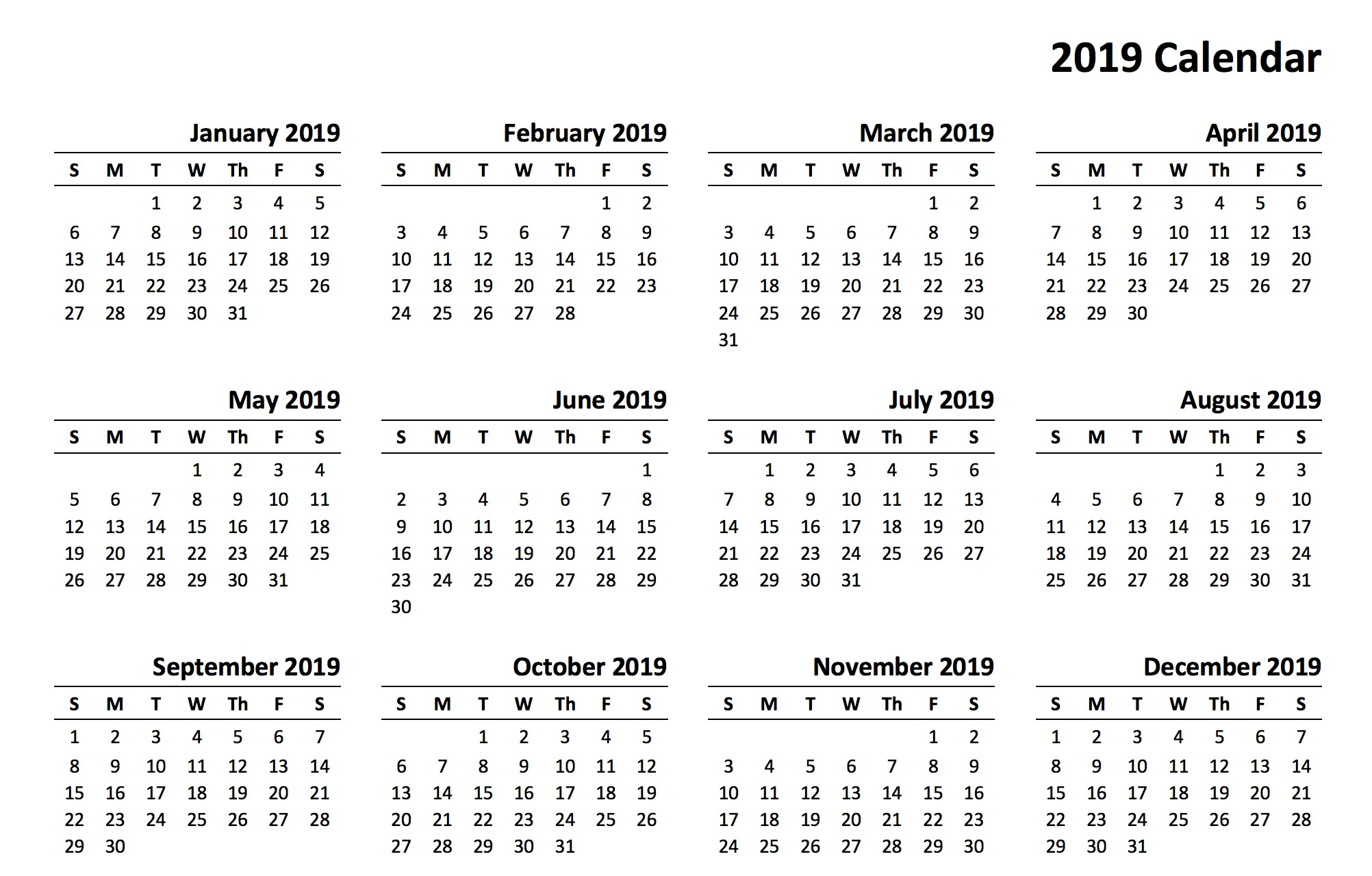 2019 Printable Free Calendar