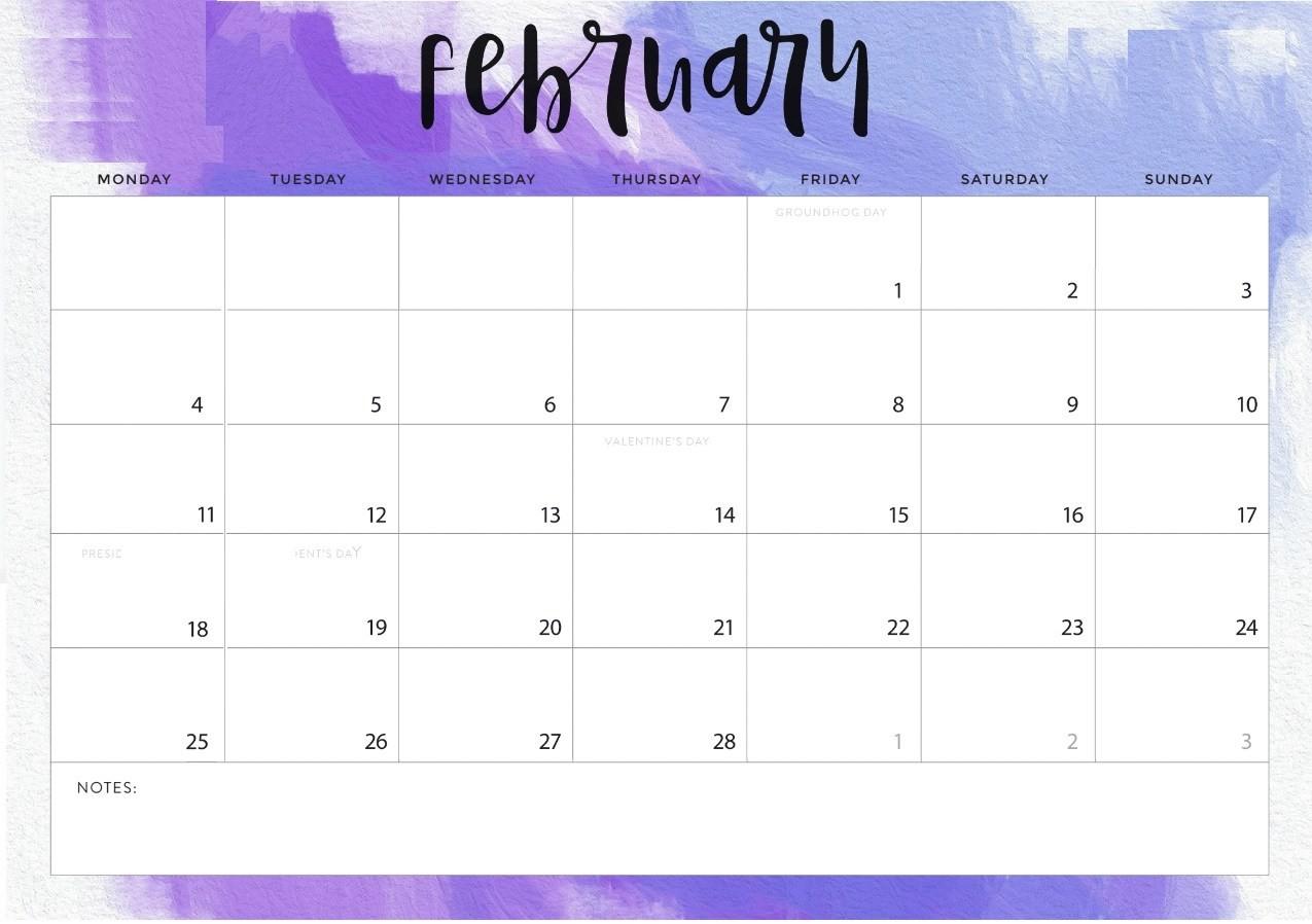 2019 Printable Free Calendar February 2019 Printable Calendar Templates Free