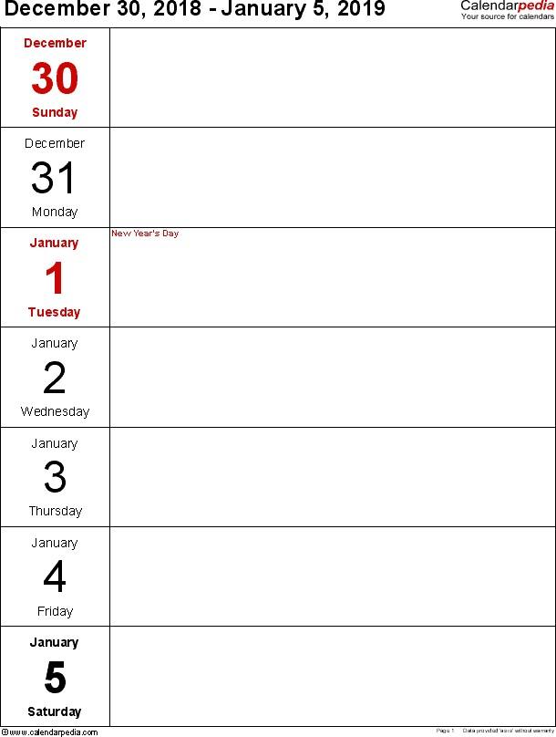 2019 Weekly Calendar Templates Weekly Calendar 2019 for Word 12 Free Printable Templates