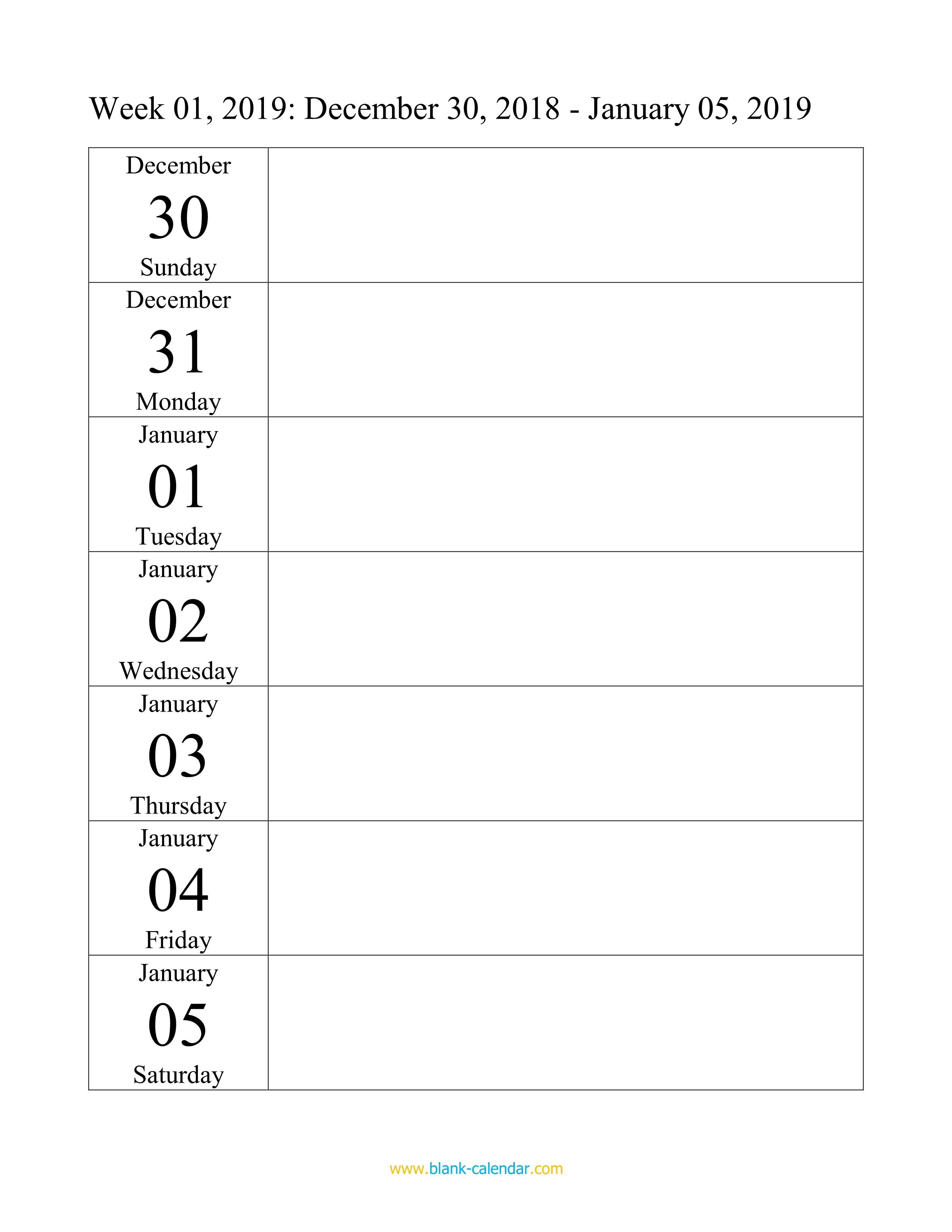 Weekly Calendar 2019 WORD EXCEL PDF