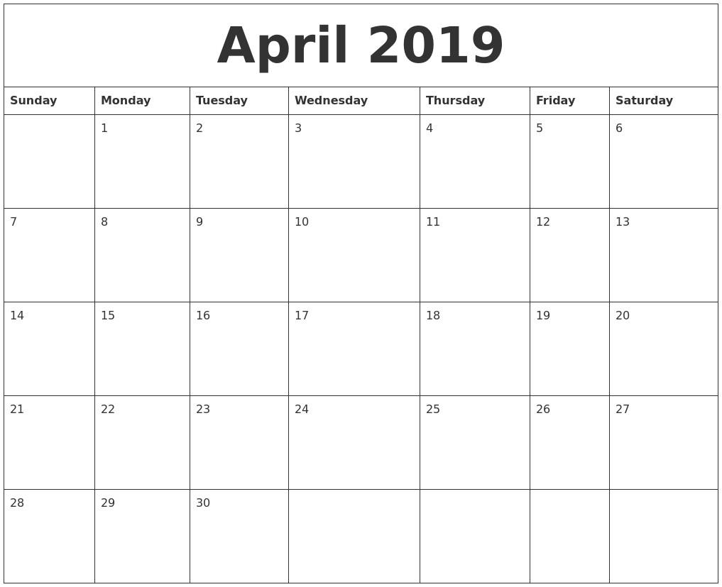 2019 Word Calendar April 2019 Word Calendar