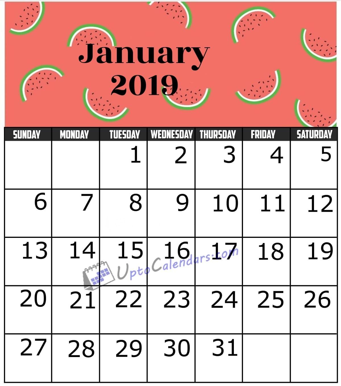 January 2019 Calendar Printable Template with Holidays PDF