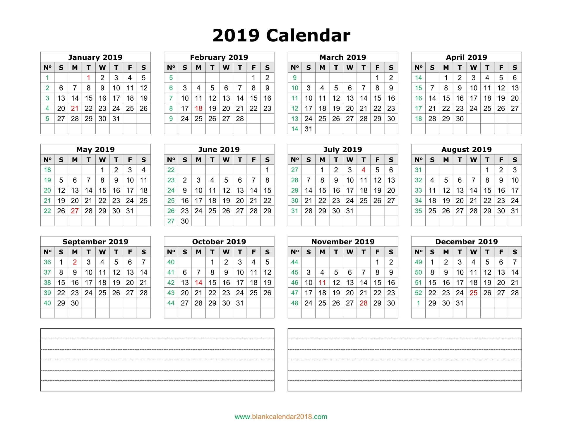blank calendar 2019 with notes landscape