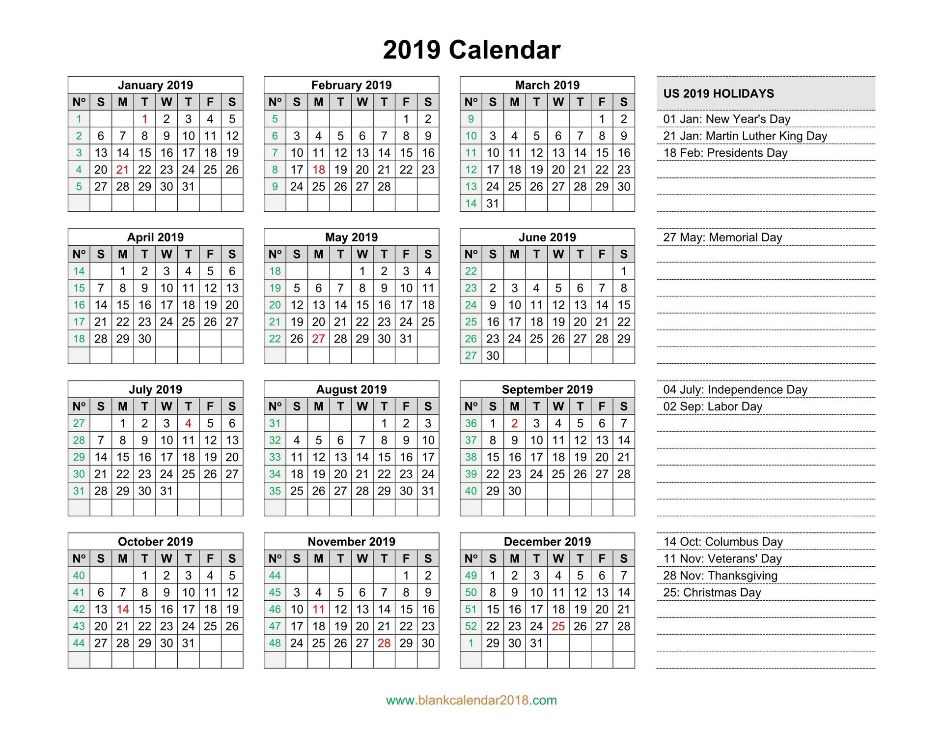 blank holidays calendar 2019 landscape